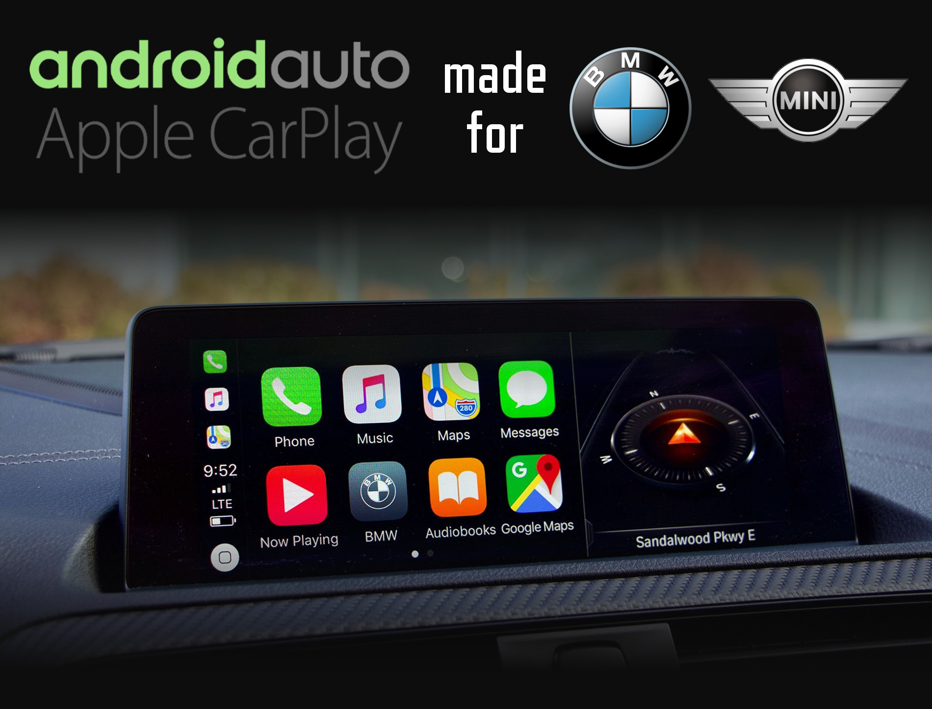 Aftermarket Apple Carplay, Android Auto integration for BMW factory radio screens for 1 Series, 2 Series, 3 Series, 4 Series, 5 Series, 6 Series, 7 Series, i3, i8, X1, X2, X3, X4, X5, X6, X7, Z4