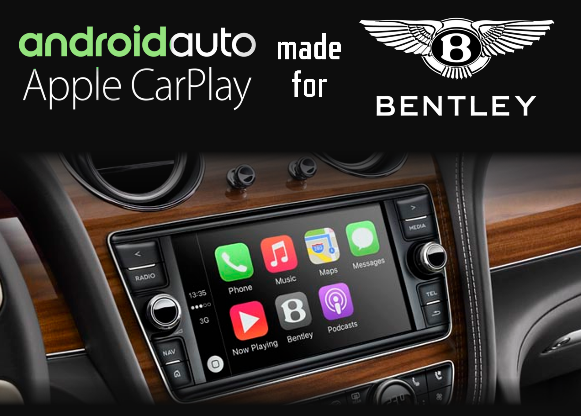 Aftermarket Apple Carplay, Android Auto integration for Bentley factory radio screens for Continental, Flying Spur, GT, VW Phaeton