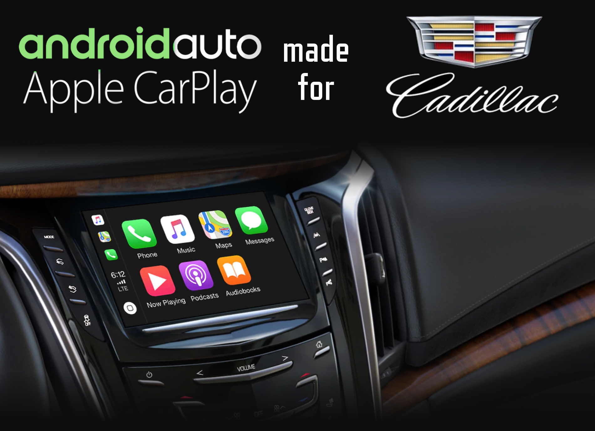 Aftermarket Apple Carplay, Android Auto integration for Cadillac factory radio screens for AST, CT6, CTS, Escalade, SRX, XT4, XT5, XTS