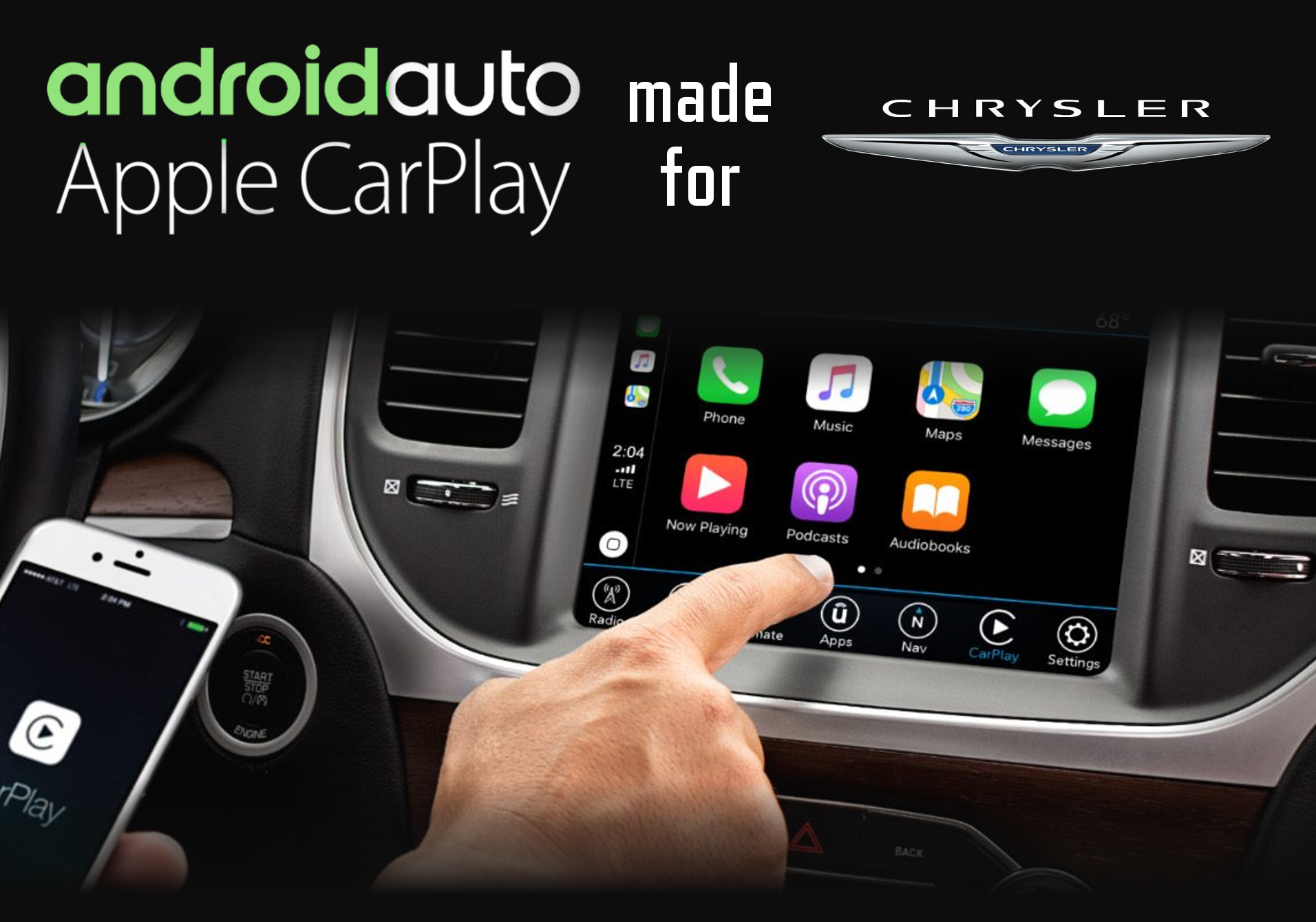 Aftermarket Apple Carplay, Android Auto integration for Chrysler factory radio screens for 300C