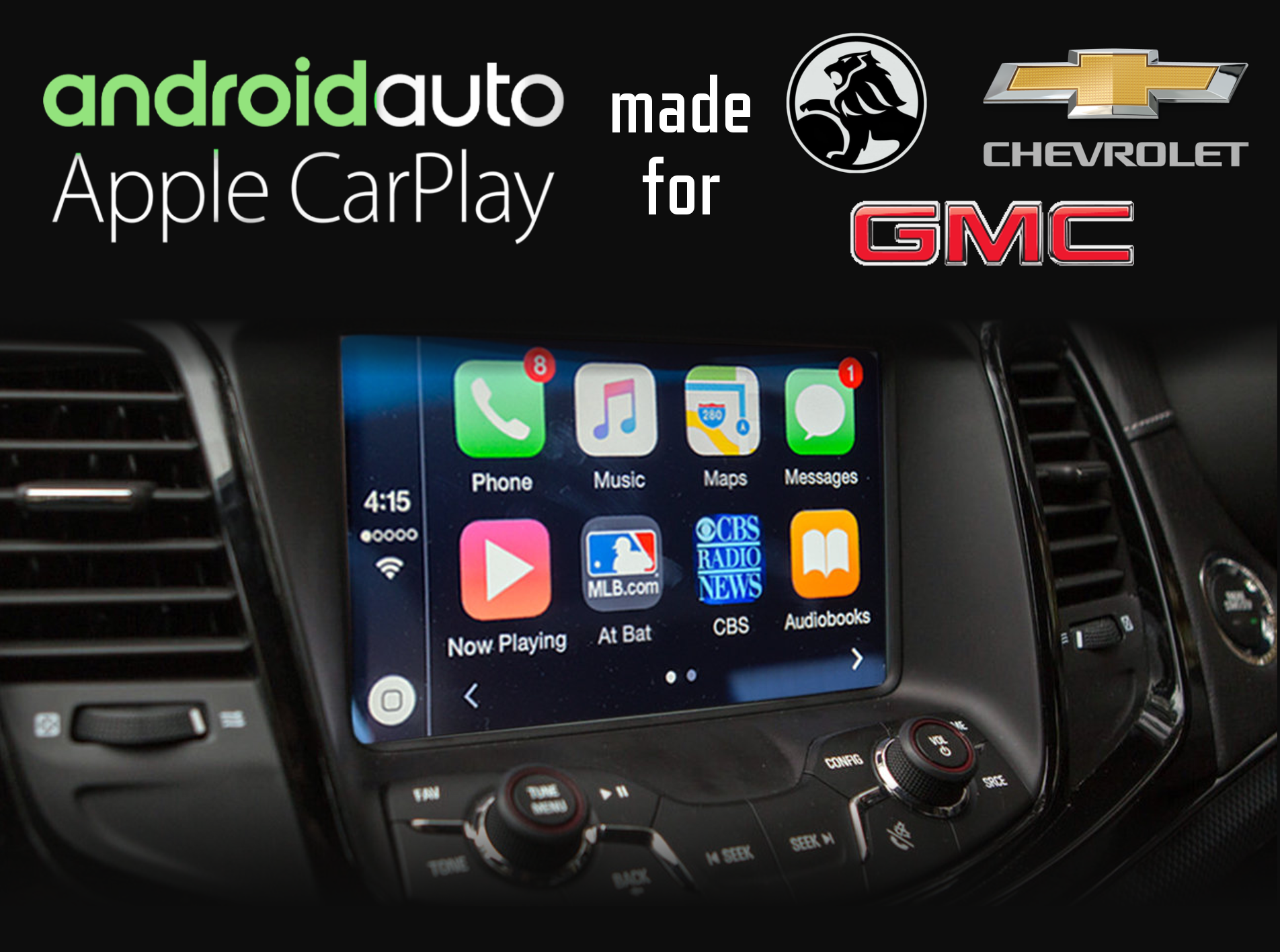 Aftermarket Apple Carplay, Android Auto integration for Holen, Chevrolet, GMC radio screens for Acadia, Camaro, Canyon, Caprice-V, Cruze, Colorado, Corvette, Impala, Malibu, Sierra, Silverado, Suburban, Tahoe, Terrain, Trax, VF, Volt, Yukon