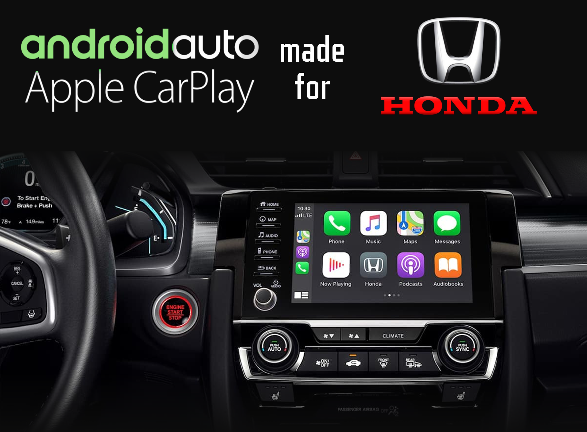 Aftermarket Apple Carplay, Android Auto integration for Honda factory radio screens for Accord, Odyssey
