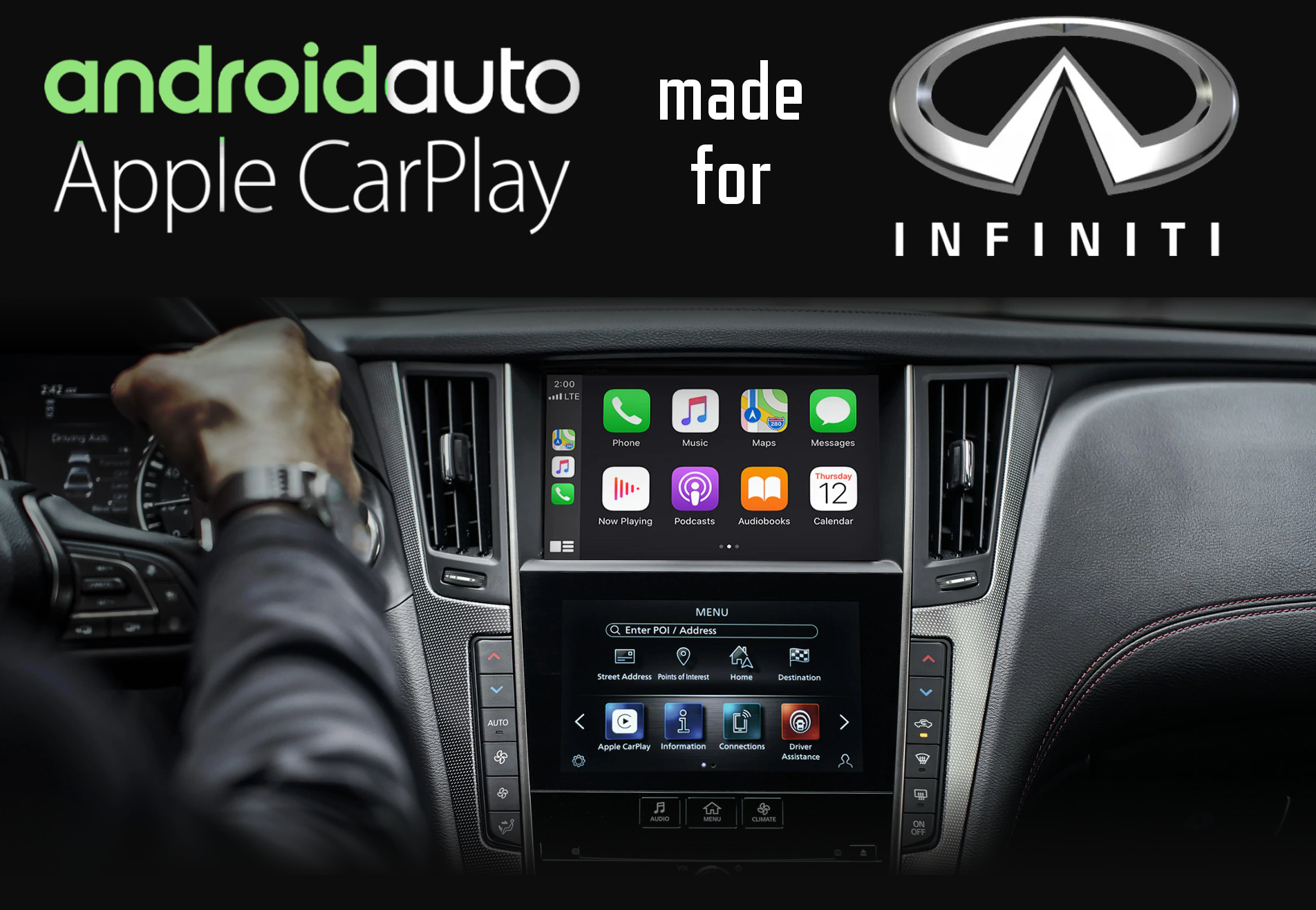 Aftermarket Apple Carplay, Android Auto integration for Infiniti factory radio screens for EX35, FX35/45/50, G35/35S, G37/37S, G37/37S, G Convertible, G Coupe, G Sedan, JX, M. M35/45, Q30, Q40, Q50/QX50/Q50L, QX50, QX56, Q60, QX60, Q70, QX70, QX80