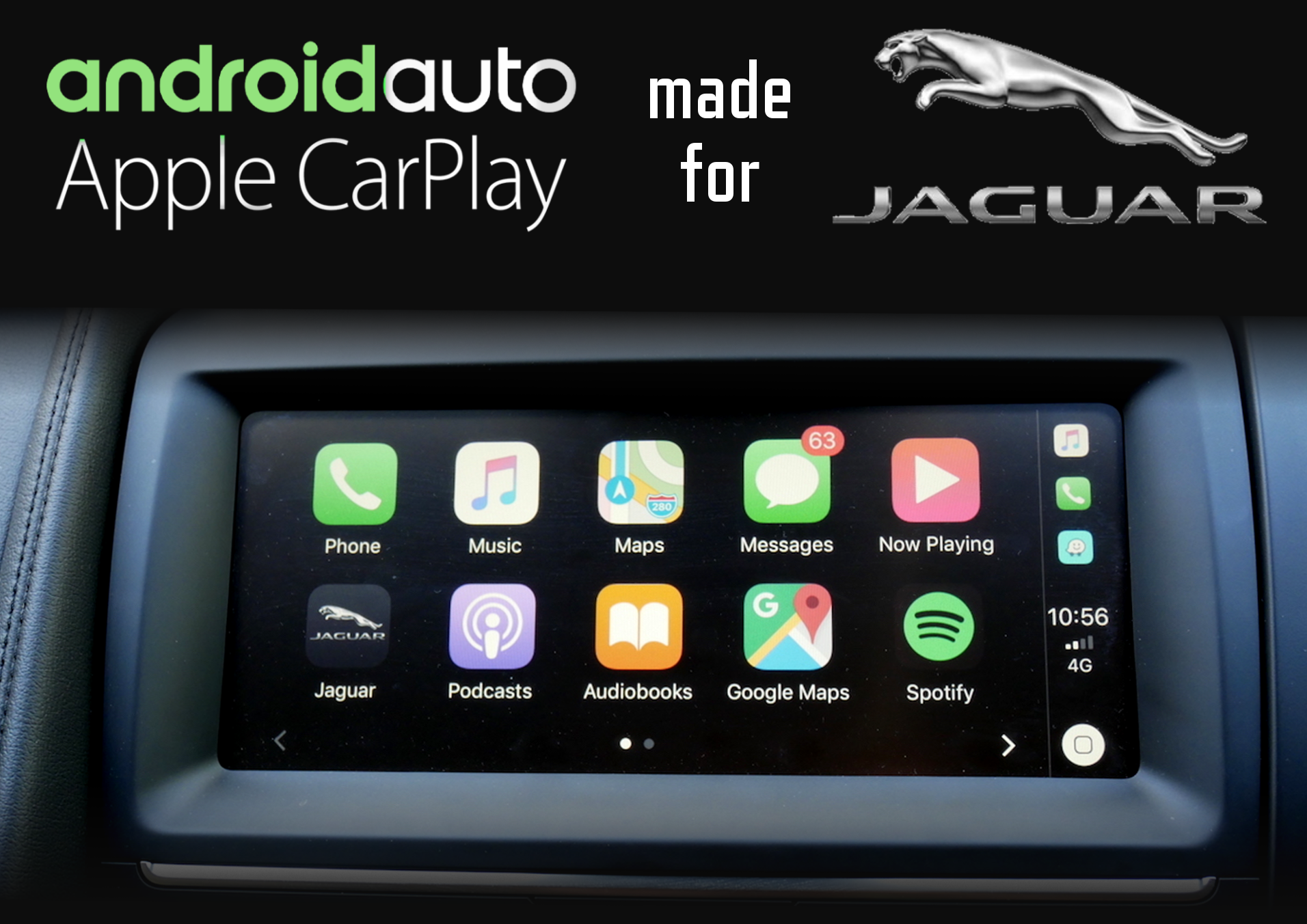 Aftermarket Apple Carplay, Android Auto integration for Jaguar factory radio screens for XE, XK/XKR, XF/XJ, XF, F-Type, E-Pace, F-Pace, XJL