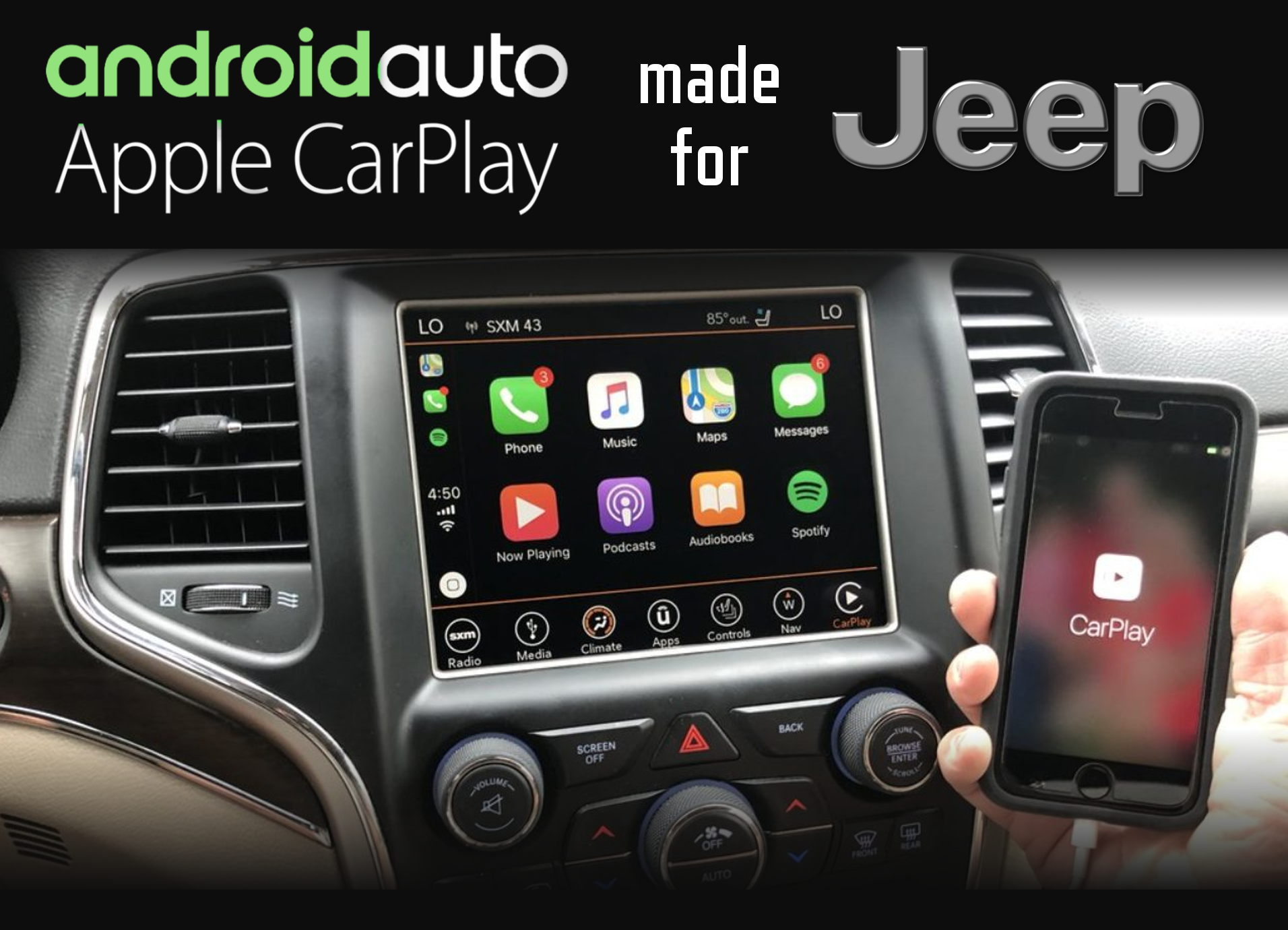 Aftermarket Apple Carplay, Android Auto integration for Jeep factory radio screens for Cherokee and Grand Cherokee