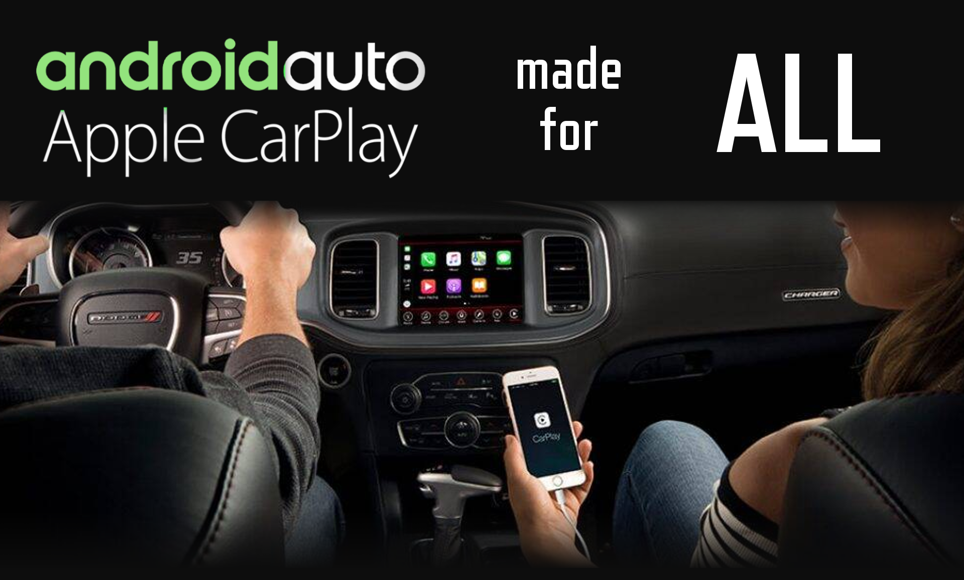 Aftermarket Apple Carplay, Android Auto integration for factory Alfa Romeo - Guilietta, Dodge - Charger, Fiat - Freemont, Hyundai - Veloster, Peugeot - 208 and 308, Renault - Clio and Koleos, Volvo - Various radio screen